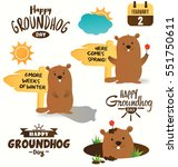 collection of happy groundhog... | Shutterstock .eps vector #551750611