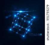 neon cube in perspective with... | Shutterstock .eps vector #551755279