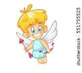 funny cupid cartoon character... | Shutterstock .eps vector #551755525