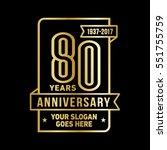 80th anniversary logo. vector...   Shutterstock .eps vector #551755759