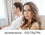 sad unhappy young couple having ... | Shutterstock . vector #551756794