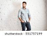 young goodlooking caucasian man ... | Shutterstock . vector #551757199