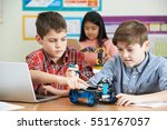 pupils in science lesson... | Shutterstock . vector #551767057