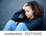 sad and lonely teenager... | Shutterstock . vector #551772445