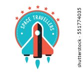 vintage space and astronaut... | Shutterstock .eps vector #551774035