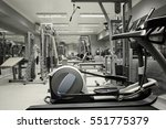 treadmill in gym interior | Shutterstock . vector #551775379