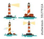 flat design lighthouse. vector... | Shutterstock .eps vector #551779114