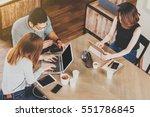 friends meeting in coffee shop  ... | Shutterstock . vector #551786845