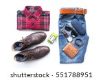men's casual outfits with red... | Shutterstock . vector #551788951