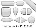 buttons. set of white glass... | Shutterstock .eps vector #551792101