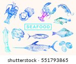 seafood and fish big set.... | Shutterstock .eps vector #551793865