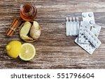 ginger  lemon  honey and ... | Shutterstock . vector #551796604