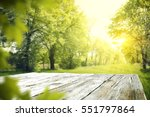 wooden desk of free space and... | Shutterstock . vector #551797864