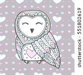 cute owl bird  seamless heart... | Shutterstock .eps vector #551802619