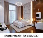Stock photo spacious master bedroom with wooden wall panels d render 551802937