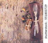 winter holiday dinner plate... | Shutterstock . vector #551803729