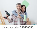 smiling loving couple doing... | Shutterstock . vector #551806555