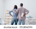 loving couple staring at their... | Shutterstock . vector #551806594