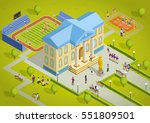 university campus building and... | Shutterstock .eps vector #551809501