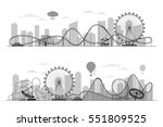fun fair amusement park... | Shutterstock .eps vector #551809525
