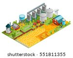 farm rural buildings isometric... | Shutterstock .eps vector #551811355