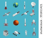 isolated and colored 3d rocket... | Shutterstock .eps vector #551811421