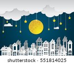 landscape city village with... | Shutterstock .eps vector #551814025