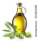 branch with olives and a bottle ... | Shutterstock . vector #55181458