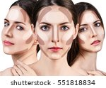 young woman's face with... | Shutterstock . vector #551818834