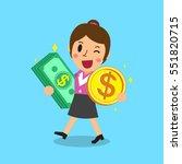 businesswoman carrying money... | Shutterstock .eps vector #551820715
