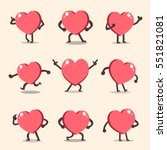 cartoon heart character poses... | Shutterstock .eps vector #551821081