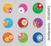 bright flower icon stickers...   Shutterstock .eps vector #55182451