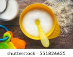 baby s first rice mash. top... | Shutterstock . vector #551826625