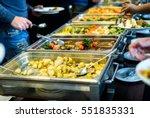cuisine culinary buffet dinner... | Shutterstock . vector #551835331
