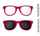 hipster hot pink color glasses... | Shutterstock .eps vector #551838595