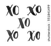 xo hugs and kisses hand drawn... | Shutterstock .eps vector #551841499
