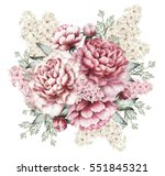 pink peonies and hyacinth ... | Shutterstock . vector #551845321