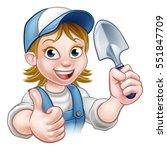 a cartoon gardener holding a... | Shutterstock .eps vector #551847709