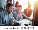 it colleagues working on...   Shutterstock . vector #551853571