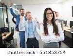 happy business people... | Shutterstock . vector #551853724