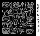 line art on a black background... | Shutterstock . vector #551855809