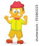 funny pinocchio with long nose... | Shutterstock .eps vector #551863225