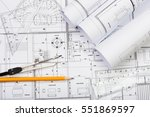 architectural plans  pencil and ... | Shutterstock . vector #551869597