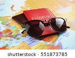 adventure concept. sunglasses... | Shutterstock . vector #551873785