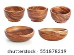 Empty Wooden Bowl Isolated On...