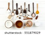 homemade coconut products on... | Shutterstock . vector #551879029