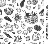 kitchen seamless pattern.... | Shutterstock .eps vector #551880187