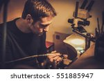 jeweler at work in jewelery... | Shutterstock . vector #551885947