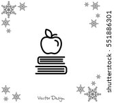 web line icon. apple on books ... | Shutterstock .eps vector #551886301
