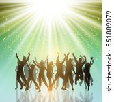 silhouettes of people dancing... | Shutterstock .eps vector #551889079